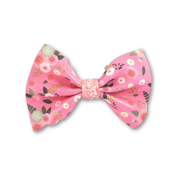 Floral Leatherette Bow Hair Clip