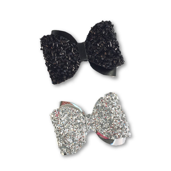 Emma Silver & Black Glitter Bow Hair Clip Set - Apollo & Wynn