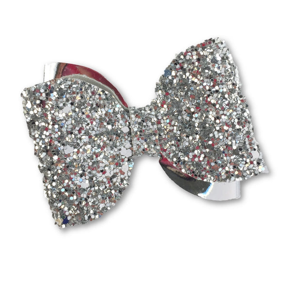 Emma Silver & Metallic Glitter Bow Hair Clip - Apollo & Wynn