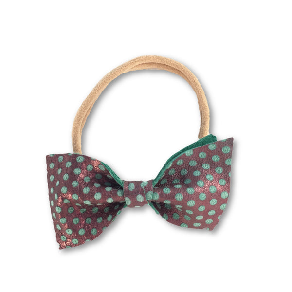Brie Purple Dot Leather Foldover Bow Headband