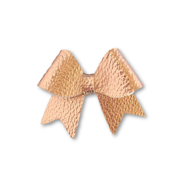 Ellie Rose Gold Leatherette Bow Hair Clip - Apollo & Wynn
