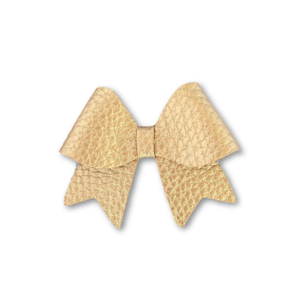 Ellie Gold Leatherette Bow Hair Clip - Apollo & Wynn