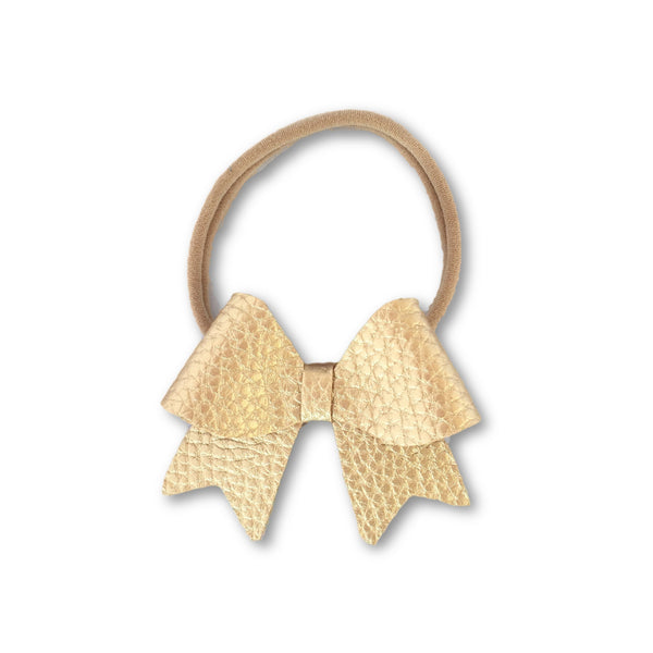 Ellie Gold Leatherette Bow Headband