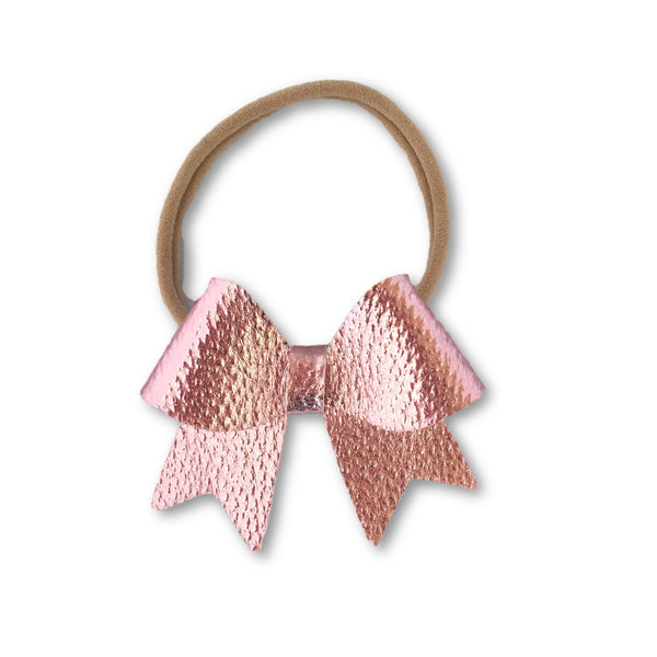 Ellie Light Pink Leatherette Bow Headband