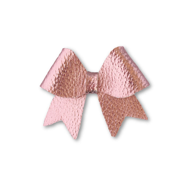 Ellie Light Pink Leatherette Bow Hair Clip - Apollo & Wynn