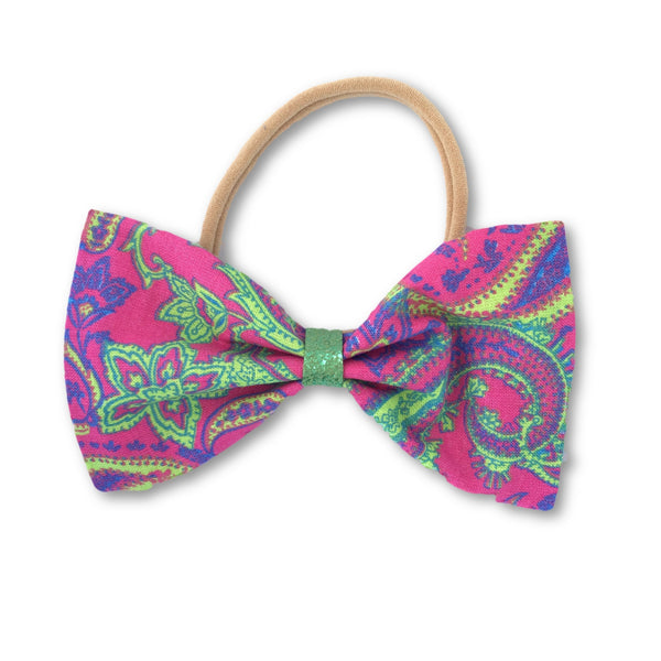Purple Paisley Bow Headband - Apollo & Wynn