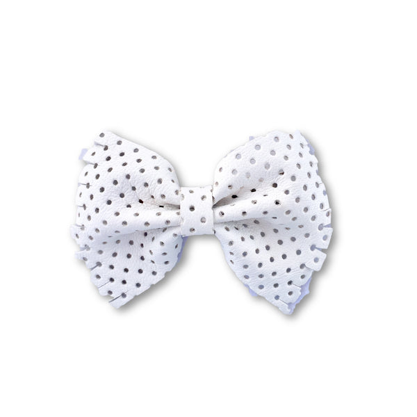 Bella White Perforated Leather Bow Hair Clip - Apollo & Wynn