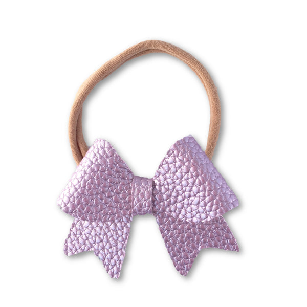 Ellie Lavender Leatherette Bow Headband - Apollo & Wynn