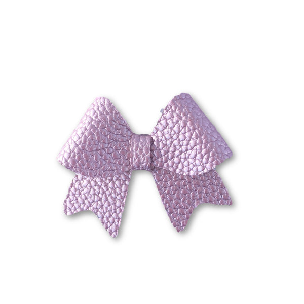 Ellie Lavender Leatherette Bow Hair Clip - Apollo & Wynn