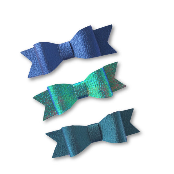 Wynn Leatherette Bow Clip Set (Blue/Teal)