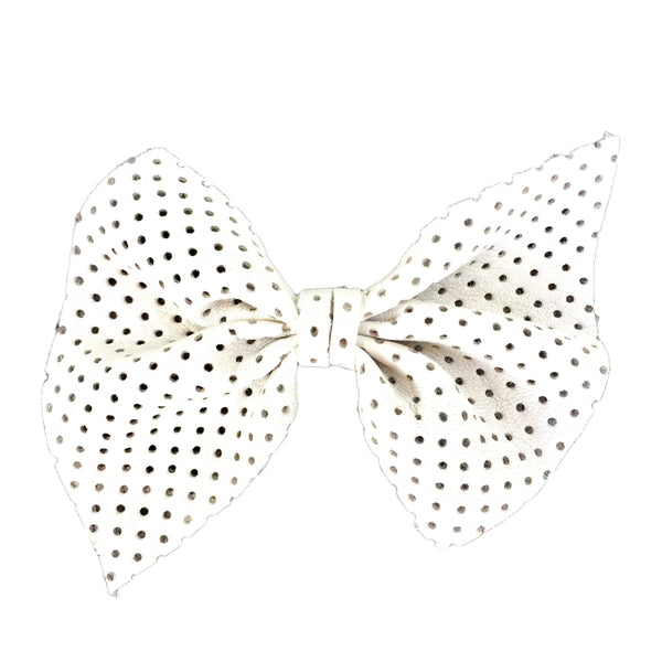 Naomi Leather Bow (White) Clip