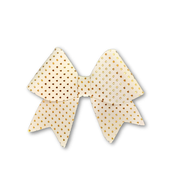 Ellie White/Gold Polka Dot Leatherette Bow Hair Clip - Apollo & Wynn