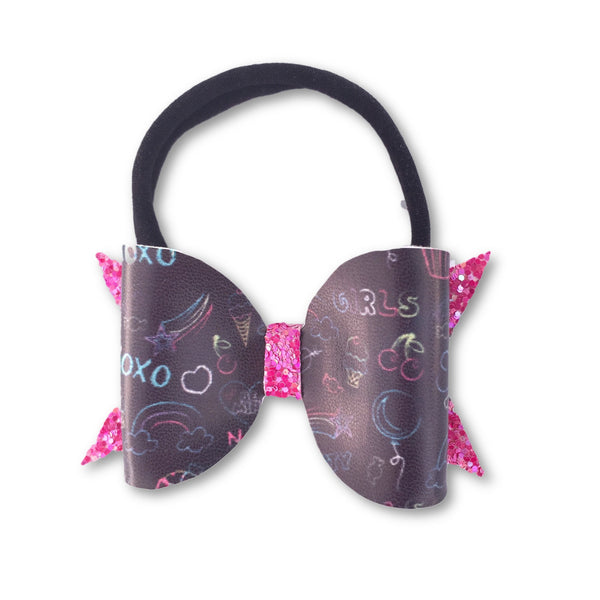Back to School Glitter/Leather Bow Headband