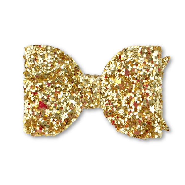 Eva Small Gold Glitter Bow Hair Clip - Apollo & Wynn