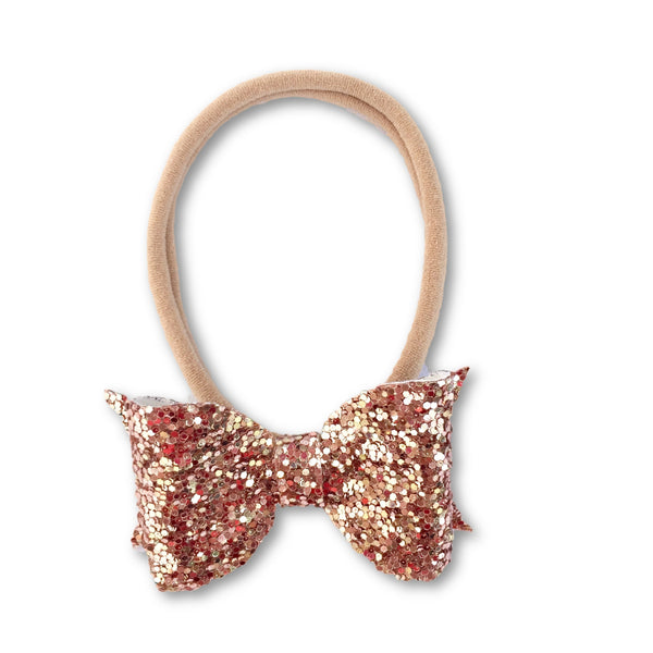 Eva Small Rose Gold Glitter Bow Headband - Apollo & Wynn