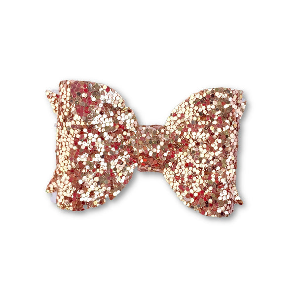 Eva Small Rose Gold Glitter Bow Hair Clip - Apollo & Wynn