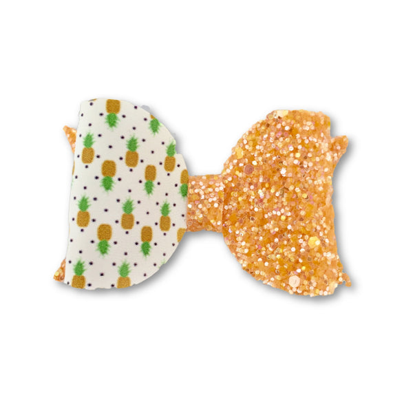 Pineapple Yellow Glitter Bow Clip - Apollo & Wynn