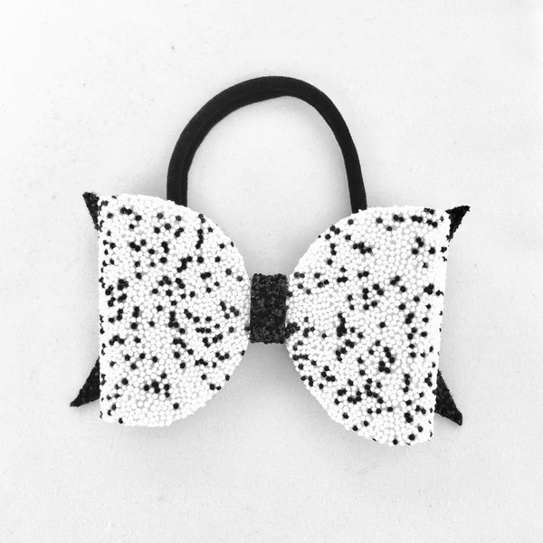 Dalmatian Black/white Glitter Bow Headband - Apollo & Wynn