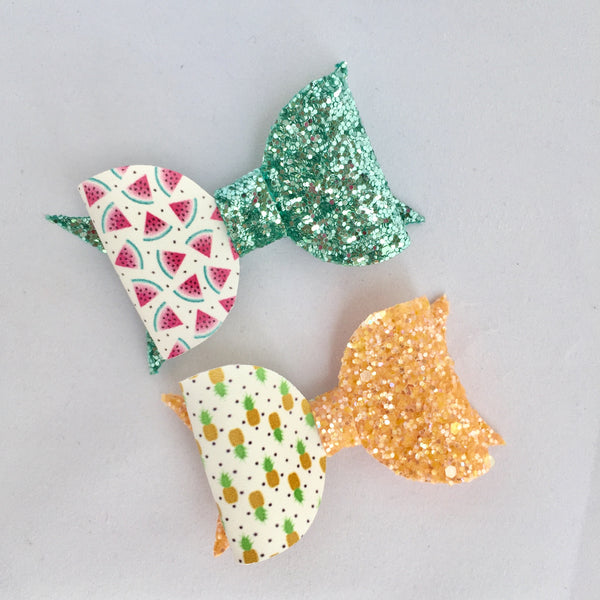 Watermelon/Pineapple Aqua Glitter Bow Clip Set