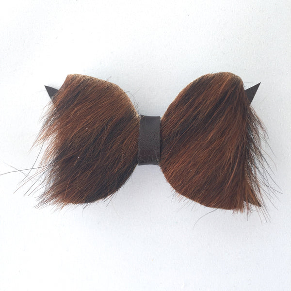 Brindle (brown/black) Fur Bow Hair Clip - Apollo & Wynn