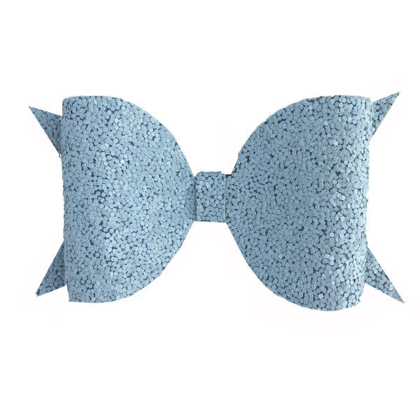 Light Blue Glitter Bow Hair Clip