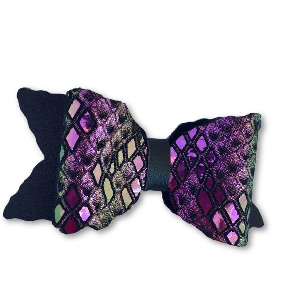 Mystic Iridescent Leather Bow Hair Clip