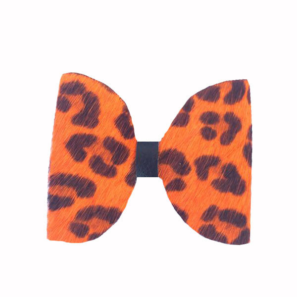 Orange Cheetah Real Fur Hair Clip