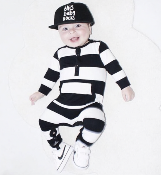 Black and White Stripe Romper - Apollo & Wynn