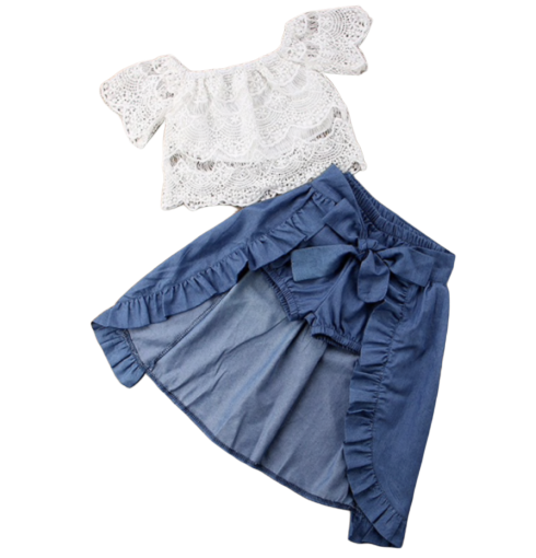 Lace Top and Denim Shorts with skirt Set - Apollo & Wynn