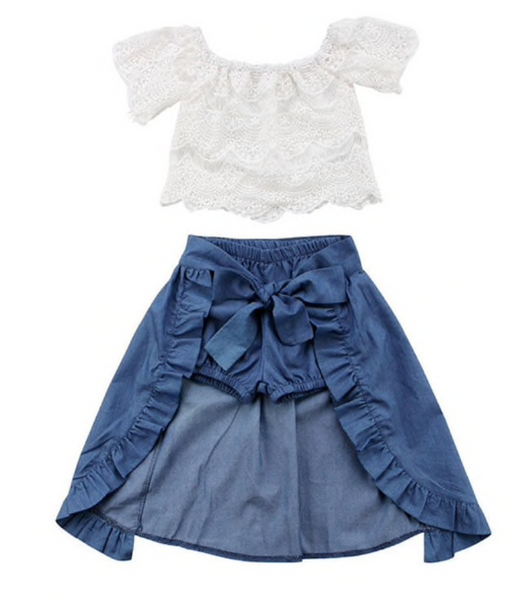 Lace Top and Denim Shorts with skirt Set