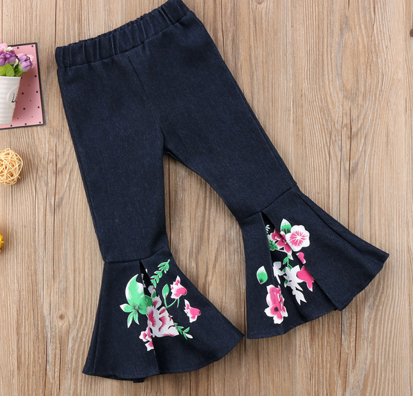 Floral Denim Bell Bottoms - Apollo & Wynn