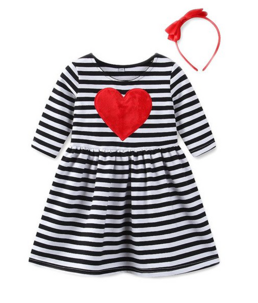 Heart Stripe Dress - Apollo & Wynn