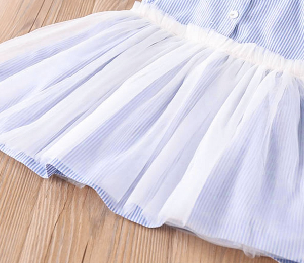 Blue Stripe Tutu Dress - Apollo & Wynn