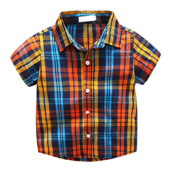 Orange Plaid Shirt & Shorts Set - Apollo & Wynn