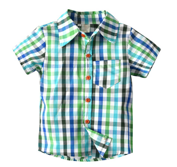 Green Plaid Shirt & Shorts - Apollo & Wynn