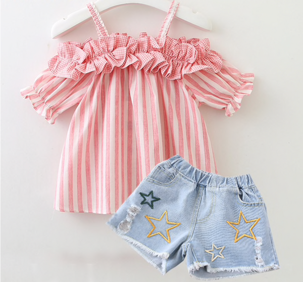Pink Stripe Top & Jean Shorts Outfit - Apollo & Wynn