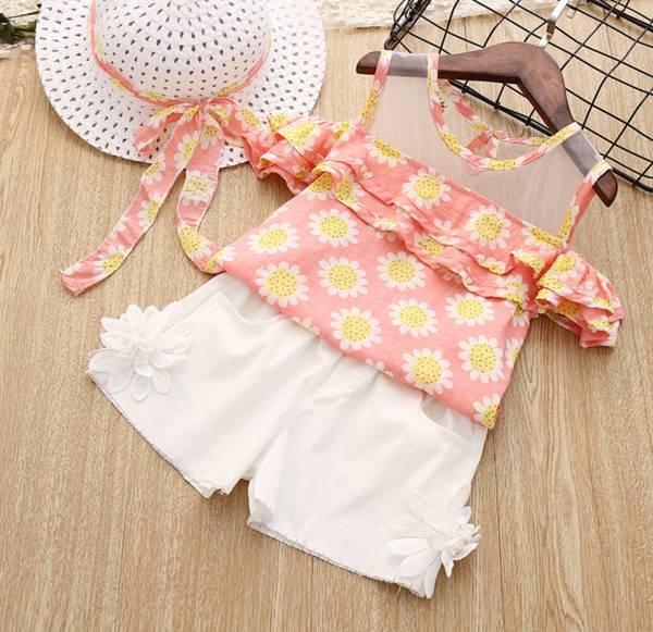 Pink daisy top & white shorts