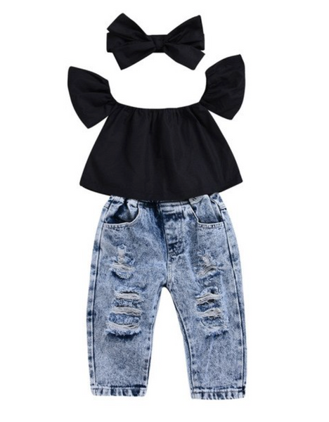 Black Crop + Ripped Jeans - Apollo & Wynn