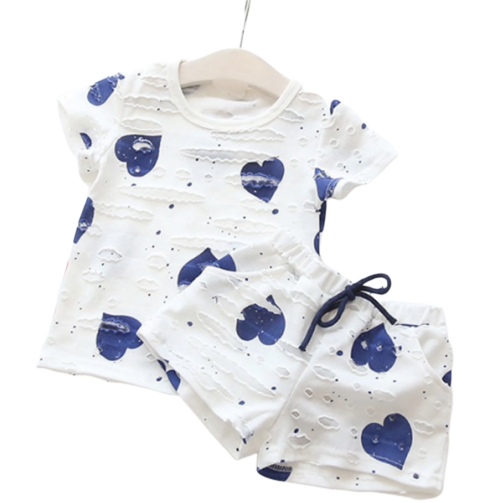 Blue Heart Ripped Shirt + Shorts - Apollo & Wynn