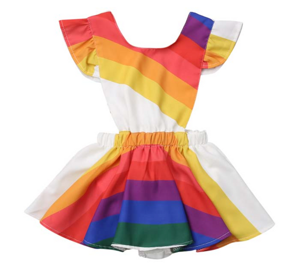 Rainbow Flutter Tie Dress