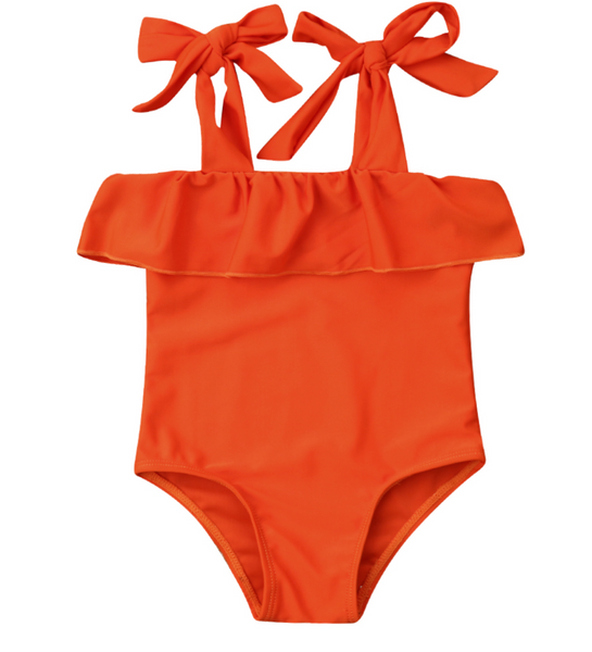 Orange Ruffle One Piece Swimsuit - Apollo & Wynn