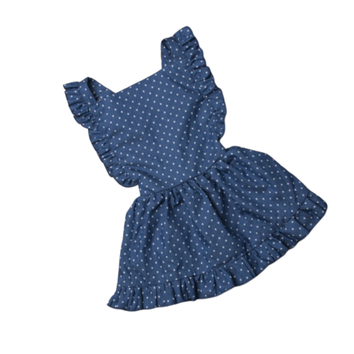Denim Polka Dot Ruffle Dress - Apollo & Wynn