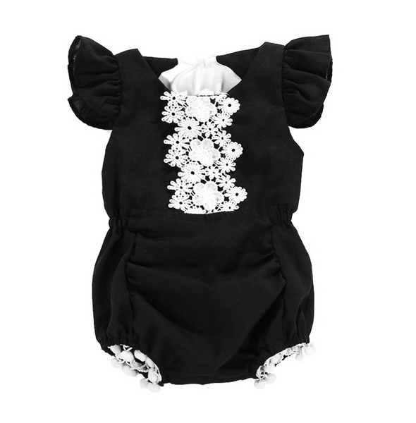 Black Lace Pom Pom Romper - Apollo & Wynn