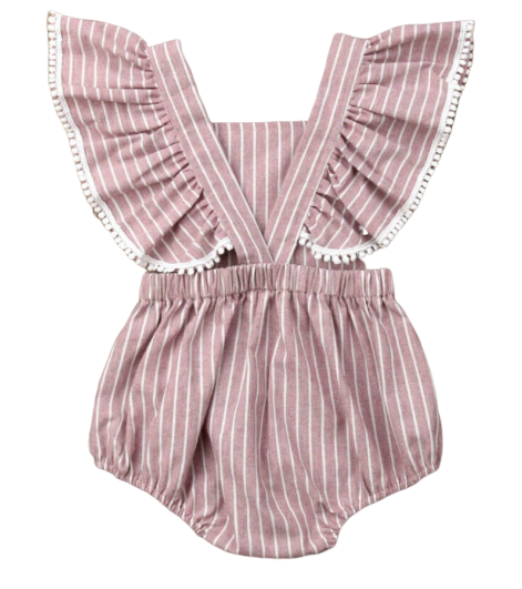 Dusty Rose Stripe Romper - Apollo & Wynn
