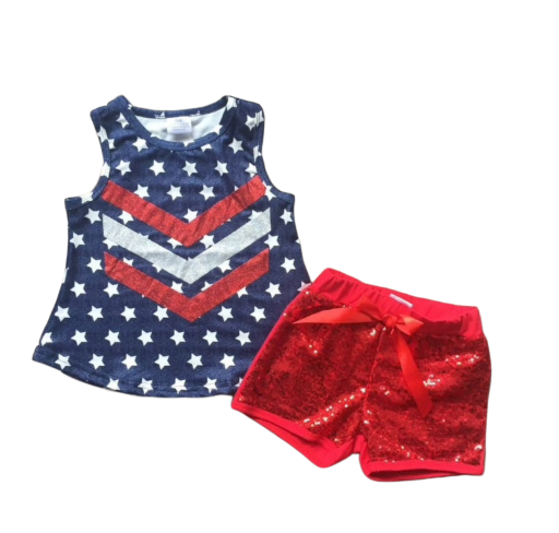 Navy Stars & Sequin Shorts - Apollo & Wynn