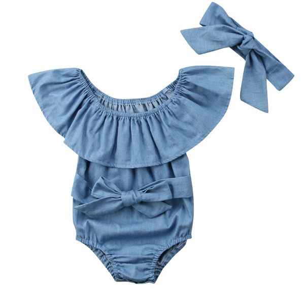 Denim Bow Romper - Apollo & Wynn