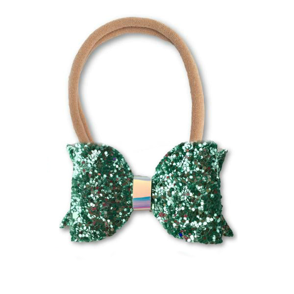 Eva Small Aqua Glitter Bow Headband - Apollo & Wynn