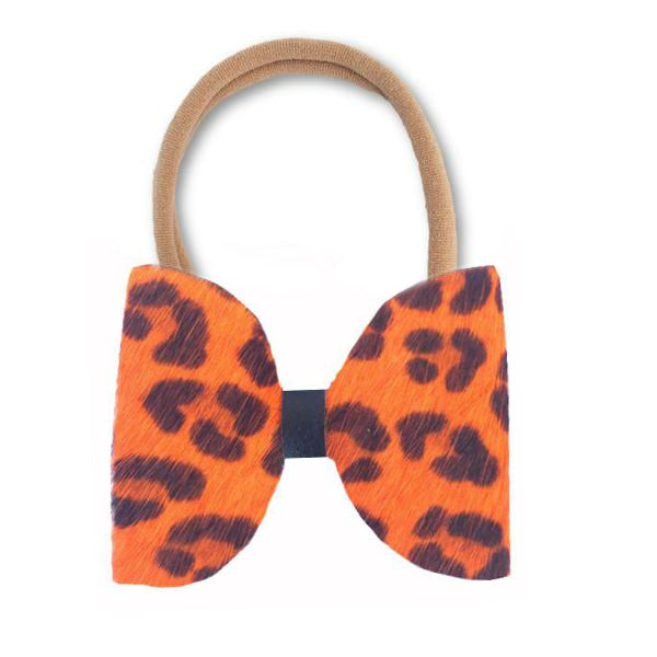 Orange Cheetah Real Fur Hair Bow Headband - Apollo & Wynn