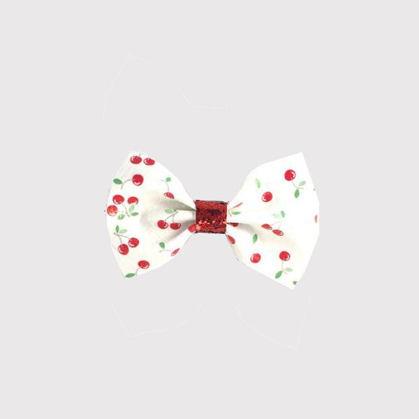 Cherries Leatherette Bow Hair Clip