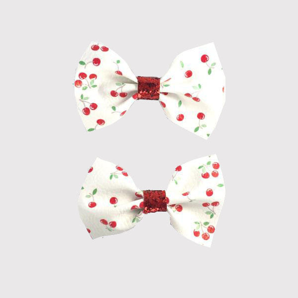 Cherries Leatherette Pigtail Clip set